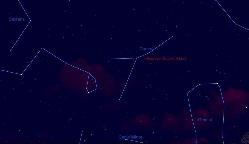 M44 , Prasepe o El Pesebre en la constelación Cáncer