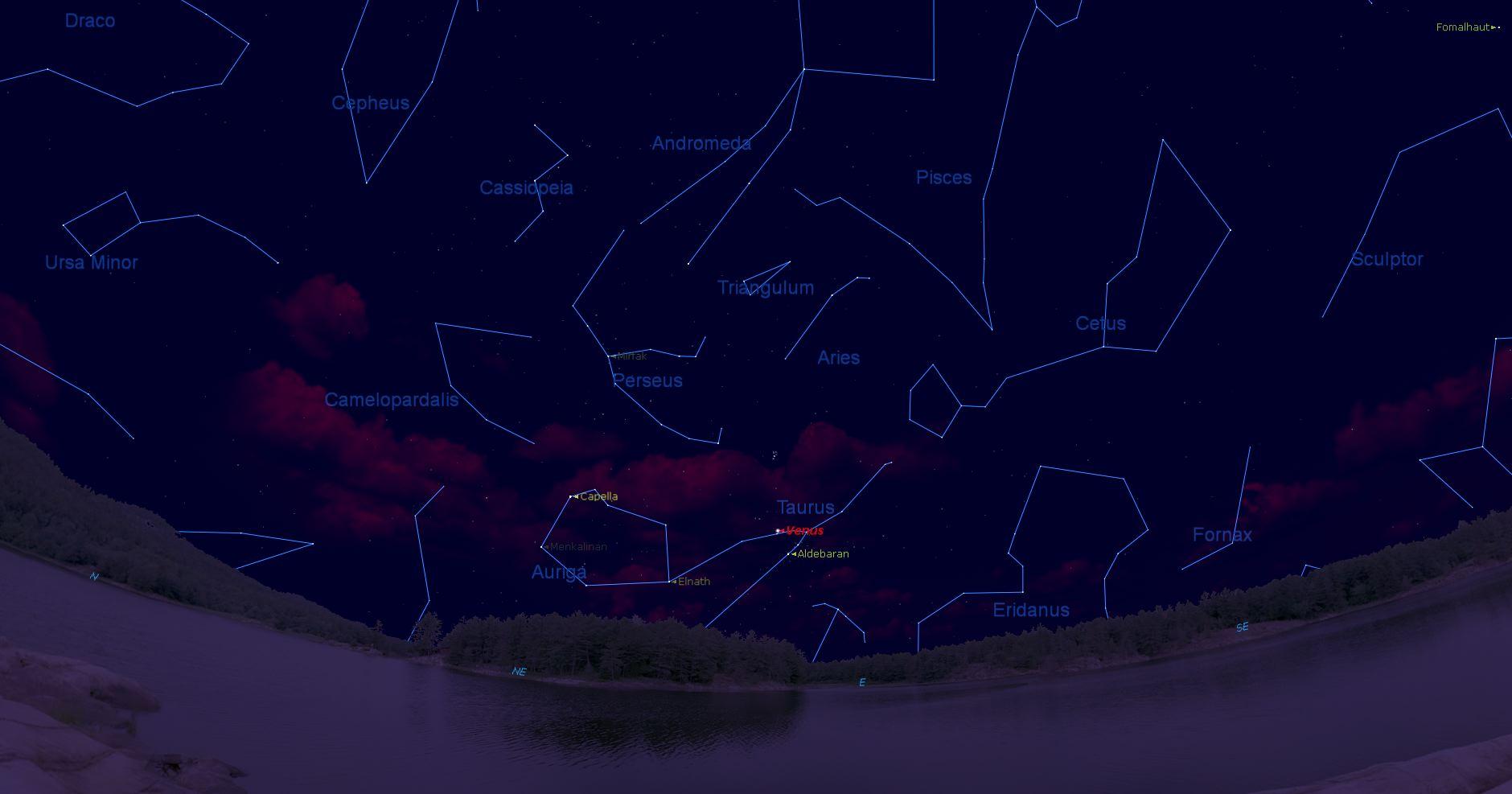 Venus en la constelación de Tauro antes del amanecer.