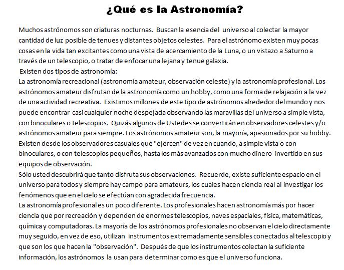 Que es la astronomia