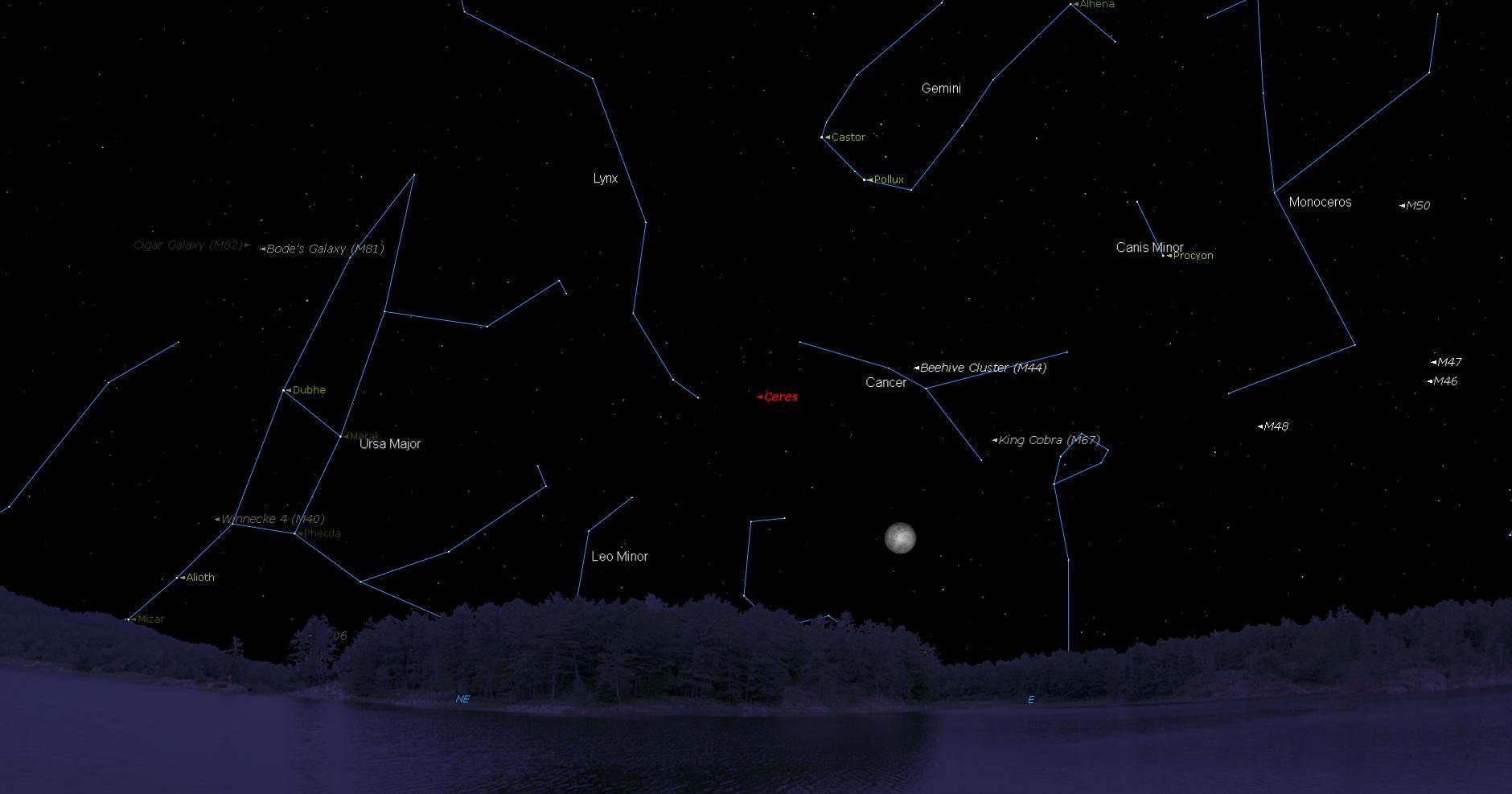 Planeta menor Ceres, entre Linx y Cancer a las 7:00 pm hora local.